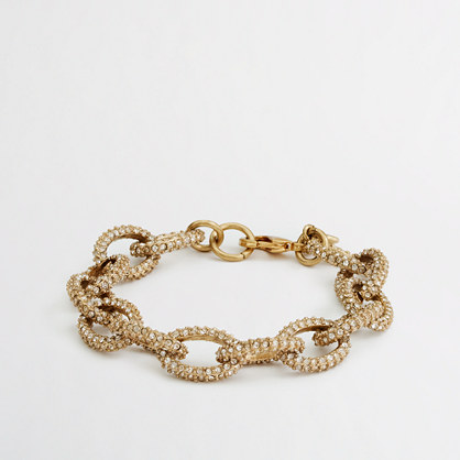 GOLD AND CRYSTAL LINK BRACELET from J. Crew $34.50